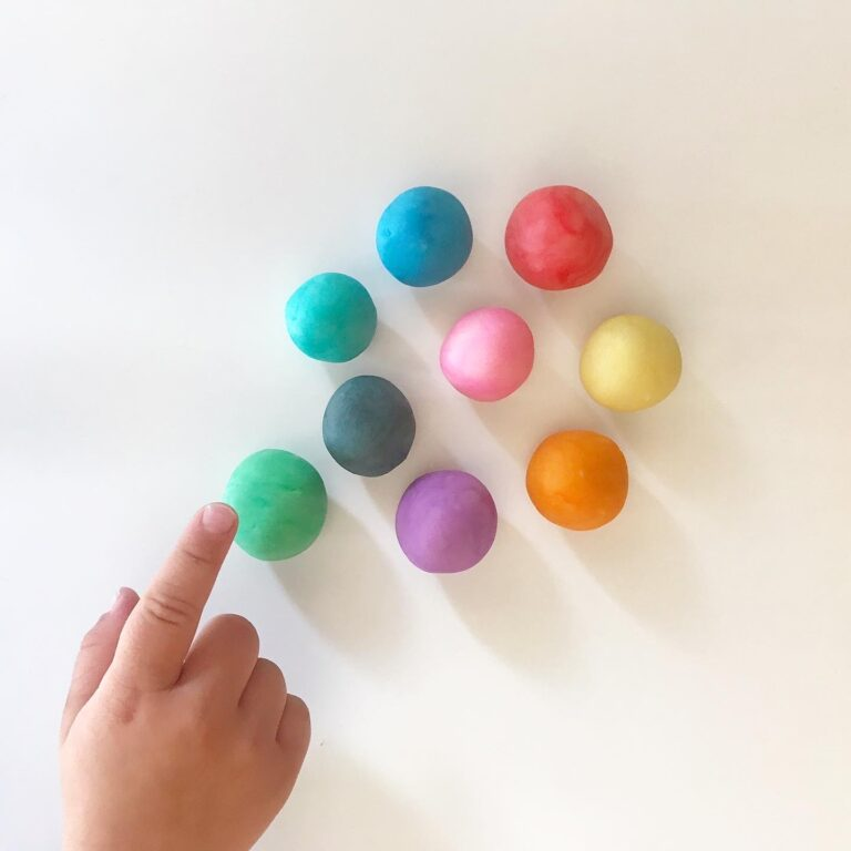 balls of colourful homemade playdough