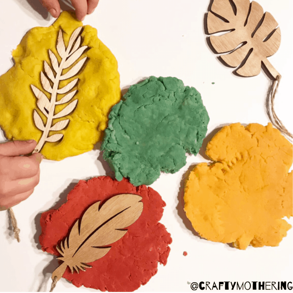 stamping playdough colourful autumn
