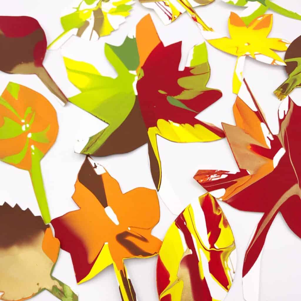 colourful spin art autumn leaves