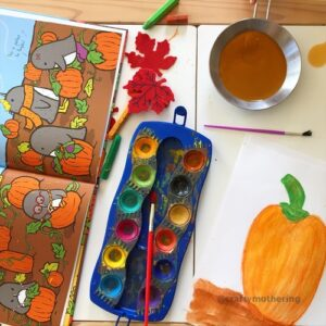 pumpkins watercolour art with kids inspired by book penguin and pumpkin
