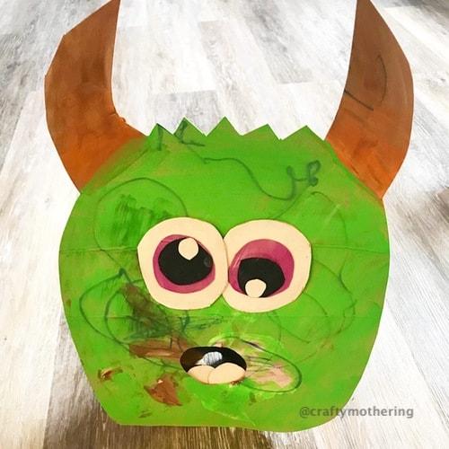 fun halloween activity kids diy cardboard green sock monster for toddler halloween