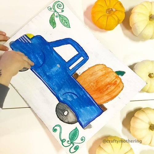 fun halloween activity for kids diy cardboard puzzle pumpkin truck