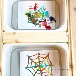 fun halloween activity for kids salt glue spider webs watercolour toddler process art halloween
