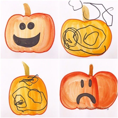 halloween activity for kids pumpkins painted emotions carving