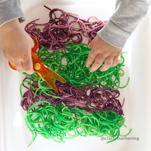 halloween activity for kids spaghetti cutting scissor skills toddler