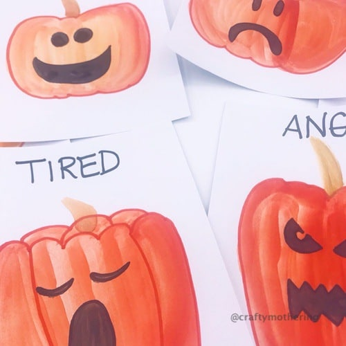 painted pumpkins emotions cards