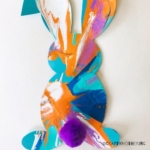 spin painting easter bunny craft for kids