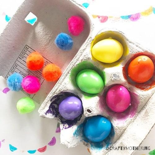 colourful easter eggs in carton